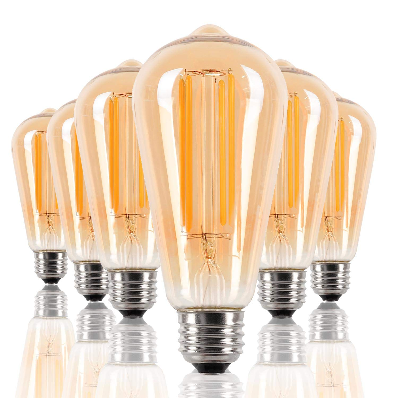 Edison Light Bulbs 5W (6 Pack) - 60 Watt Equivalent - Vintage Dimmable Warm White LED Long Filament Light Bulbs - Amber Glass Decorative Light Bulbs - No Stroboflash,ST64 2200K E26 110V 90Ra UL listed