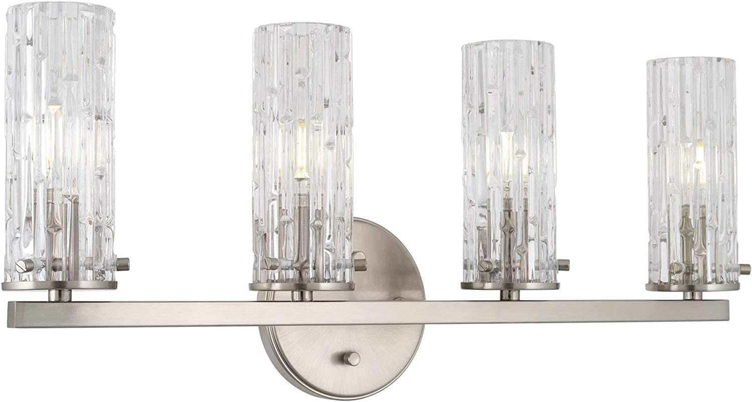 Kira Home Ophelia 22 Modern 4-Light Bathroom Vanity Light, Cylinder Hand Cut Glass Shades, Brushed Nickel Finish