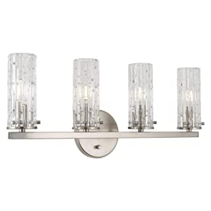 "Kira Home Ophelia 22"" Modern 4-Light Bathroom Vanity Light, Cylinder Hand Cut Glass Shades, Brushed Nickel Finish"