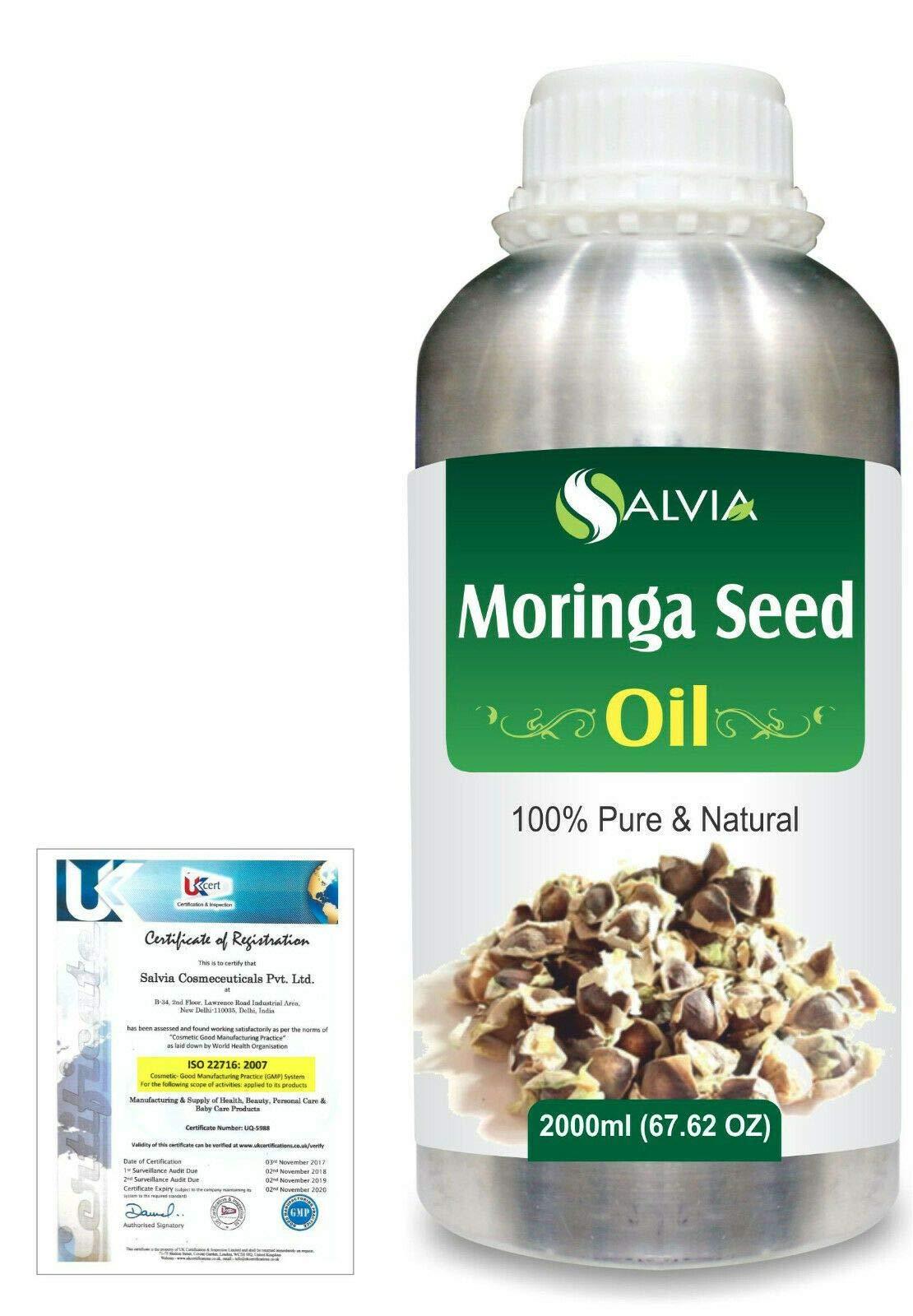 Moringa Seed (Moringa-Oleifera) Pure Natural Aromatherapy Therapeutic Uncut Undiluted Carrier Oil 2000ml/67.6 fl. oz. Express Shipping