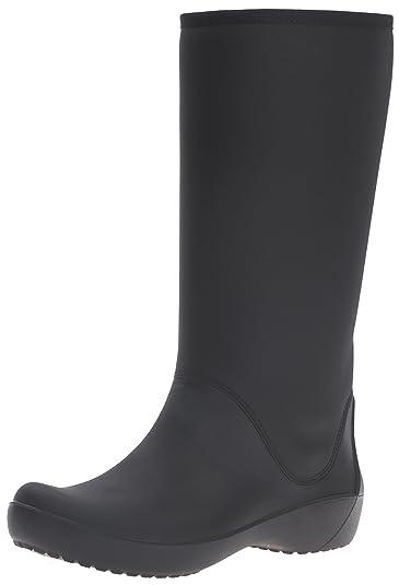 crocs Damen Rainfloebootie Gummistiefel, Schwarz (Black), 38-39 EU
