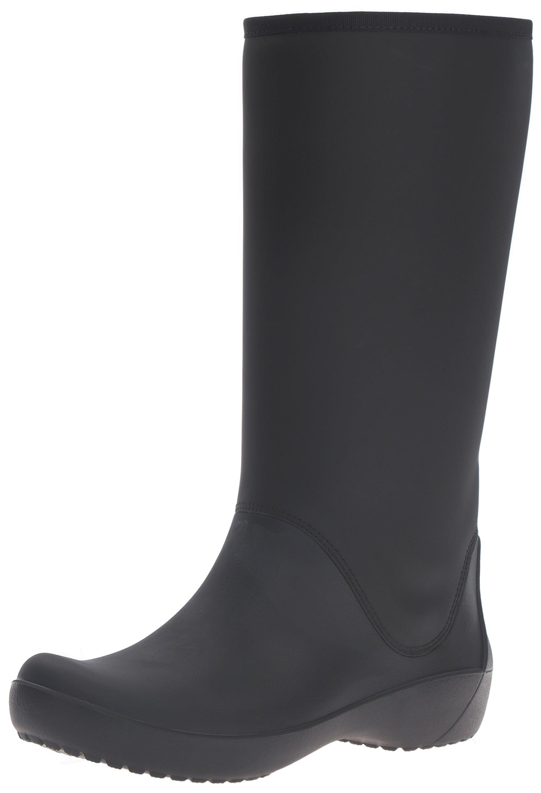 crocs Women's Rain floe Tall Boot, Black, 8 M US