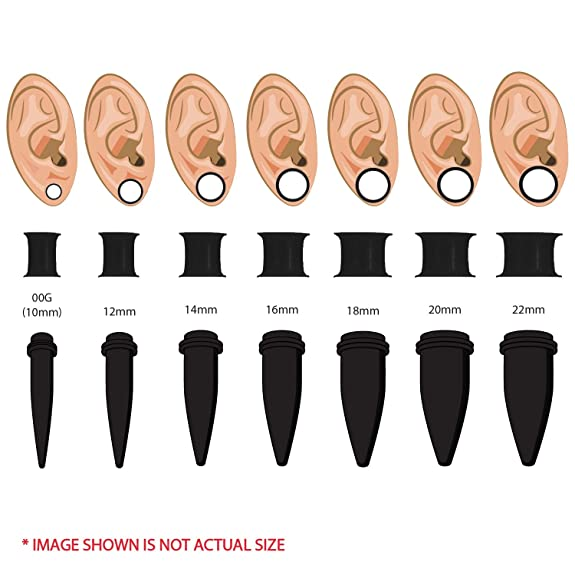 BodyJ4You 28PC Big Gauges Kit Ear Stretching 00G-22mm Acrylic Taper Silicone Plug Tunnels Piercing