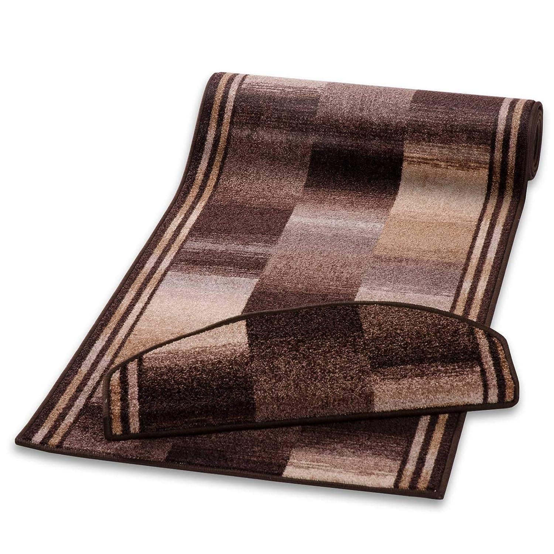 Stufenmatten Braun Gemustert | Qualitätsprodukt aus Deutschland | Gut Siegel | Kombinierbar mit Läufer | 65x23,5 cm | halbrund | 15er Set