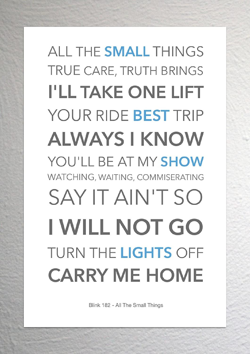 Blink 182 - All The Small Things - Funky Lyric Art Print - A4 Size ...