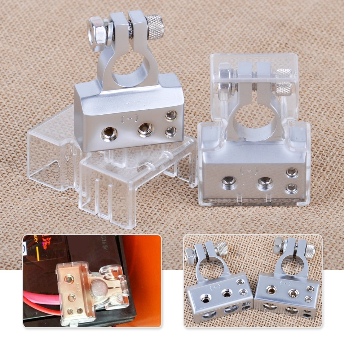 2pcs Silver zinc alloy 2 4 8 Gauge AWG Positive & Negative 12V Car Battery Terminal Clamp Connector with Cover by VANVO
