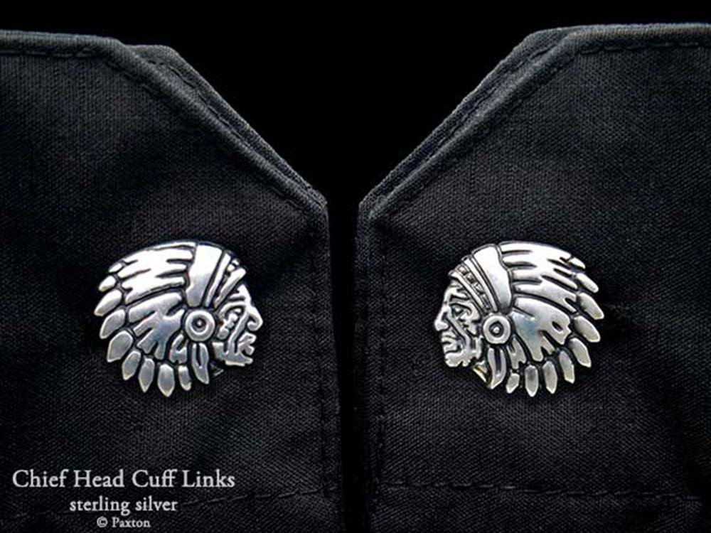 Chief Indian Head Cuff Links in Solid Sterling Silver Hand Carved & Cast by Paxton