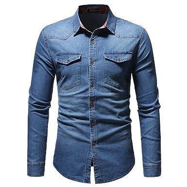 Goosuny Jeanshemden Herren Langarm Denim Hemden Herbst Winter Freizeit  Shirts Distressed Solid Jahrgang Cowboy-Style bea510e589