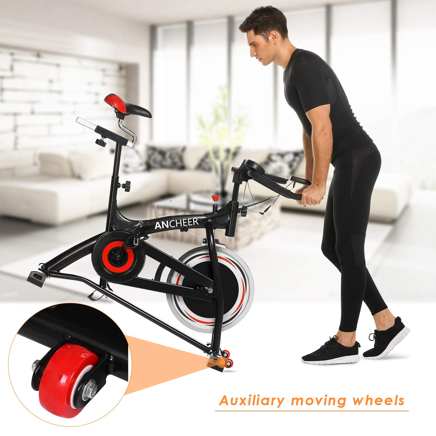 ANCHEER Stationary Bike, 40 LBS Flywheel Belt Drive Indoor Cycling Exercise Bike with Pulse, Elbow Tray (Model: ANCHEER-A5001) (Black) by ANCHEER (Image #7)