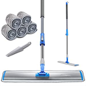 """Professional 24"""" Microfiber Mop for Hardwood Durable Aluminum Flat Dust Mop with Long Handle and 3 Pcs Reusable Mop Pads and Scraper Cleaning Tools"""