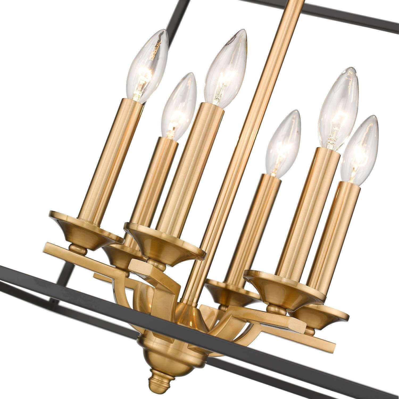 Emliviar 6-Light Modern Farmhouse Chandelier, Foyer Lantern Pendant Light in Black and Gold Finish, 2086P-6 BG