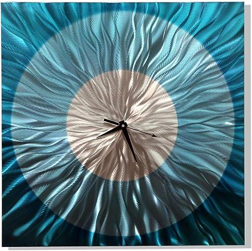 Statements2000 Modern Abstract Aqua Blue and Silver Wall Clock – Handmade Metal Wall Art Sculpture – Functional Art, Wall Decor – Aquatica Clock By Jon Allen – 24-inch