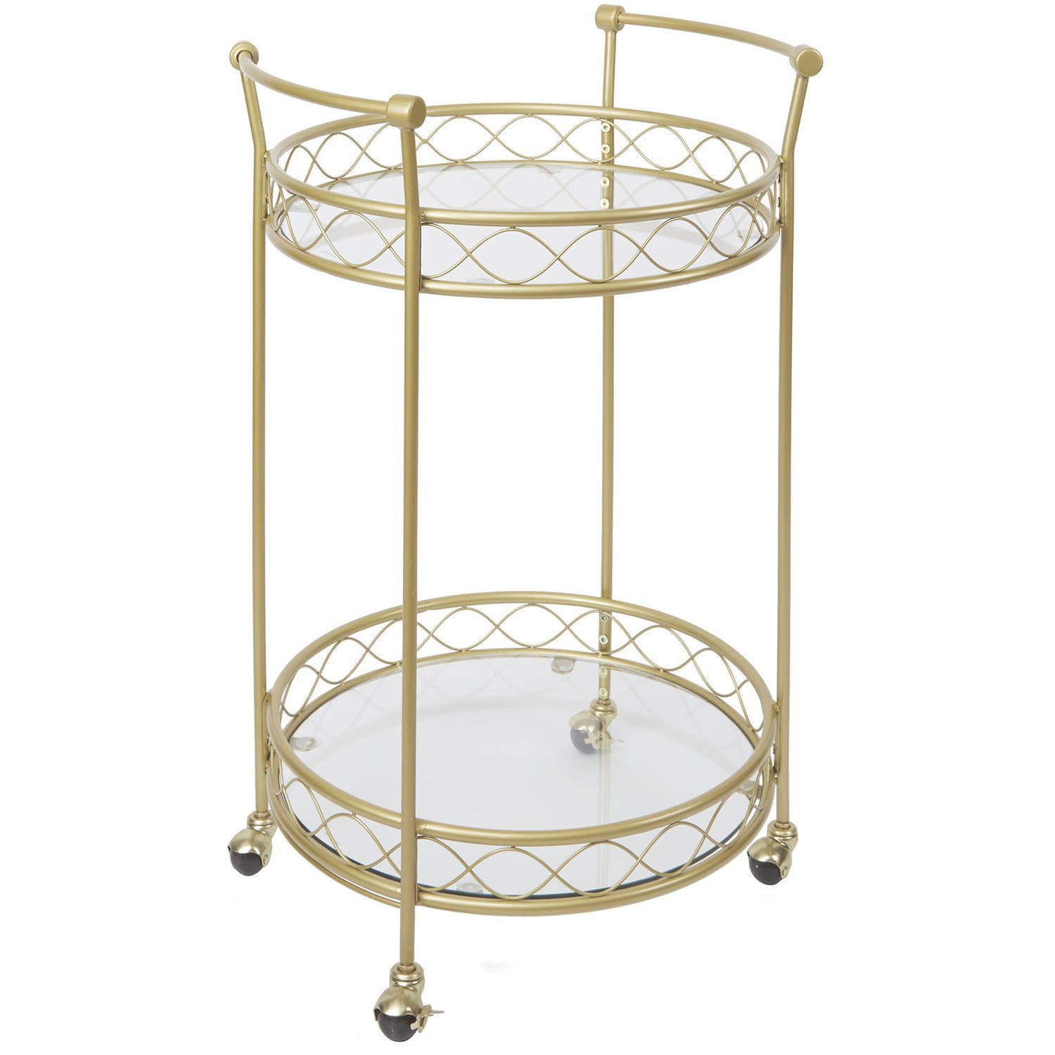 Chic Versatile Sturdy Luxe Gold Finished Serving Bar Cart with Tempered Glass and 4 Locking Caster Wheels For Easy Mobility by Better Homes and Gardens