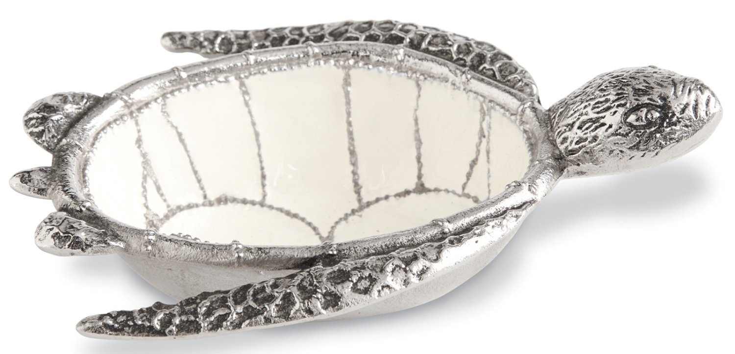 Mud Pie 4851123 Metal And Enamel Turtle Dip Cup White//Silver One Size