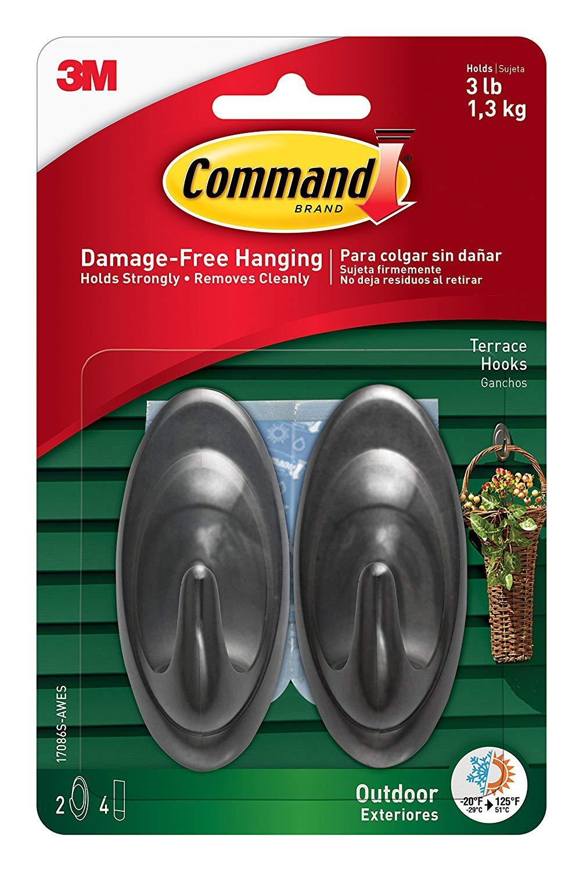 Command Outdoor Terrace Hook, Medium, Slate, 2-Hooks (17086S-AWES) - 10 Pack