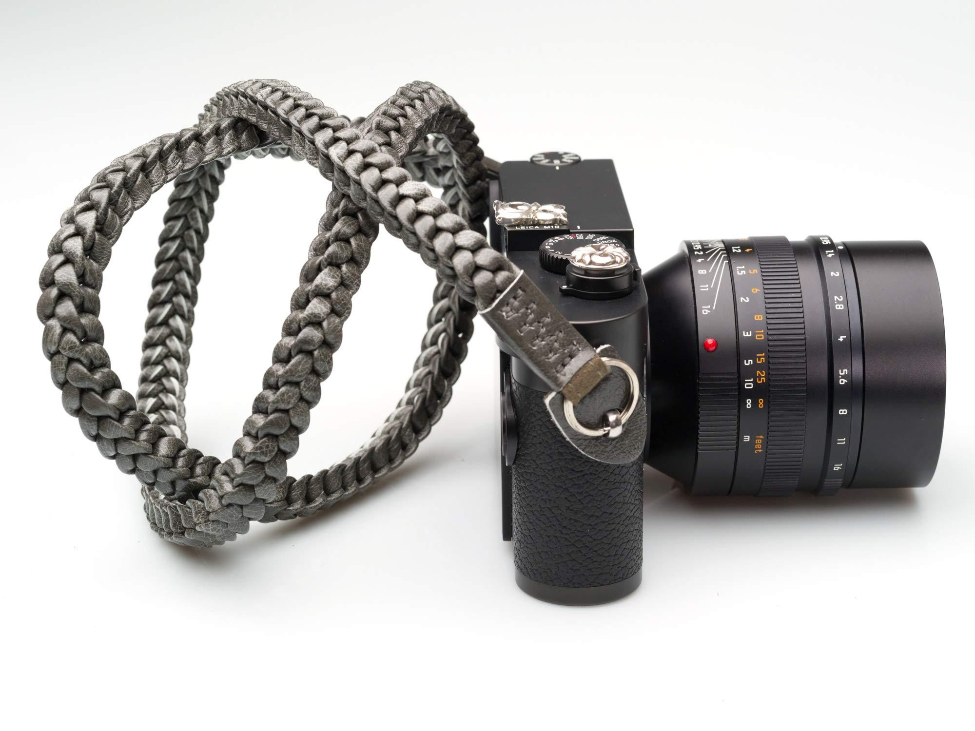Barton1972 Silver Shade 42 inches Long Camera Strap Leica Sony Fuji Nikon Round Strap lugs Gray