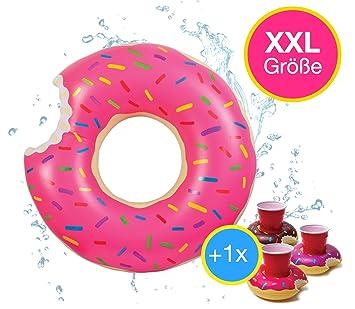 XXL Buñuelo Flotator mordido inflable con Hinchable Donut de Fresa mordida Anillo flotante Colchón de aire