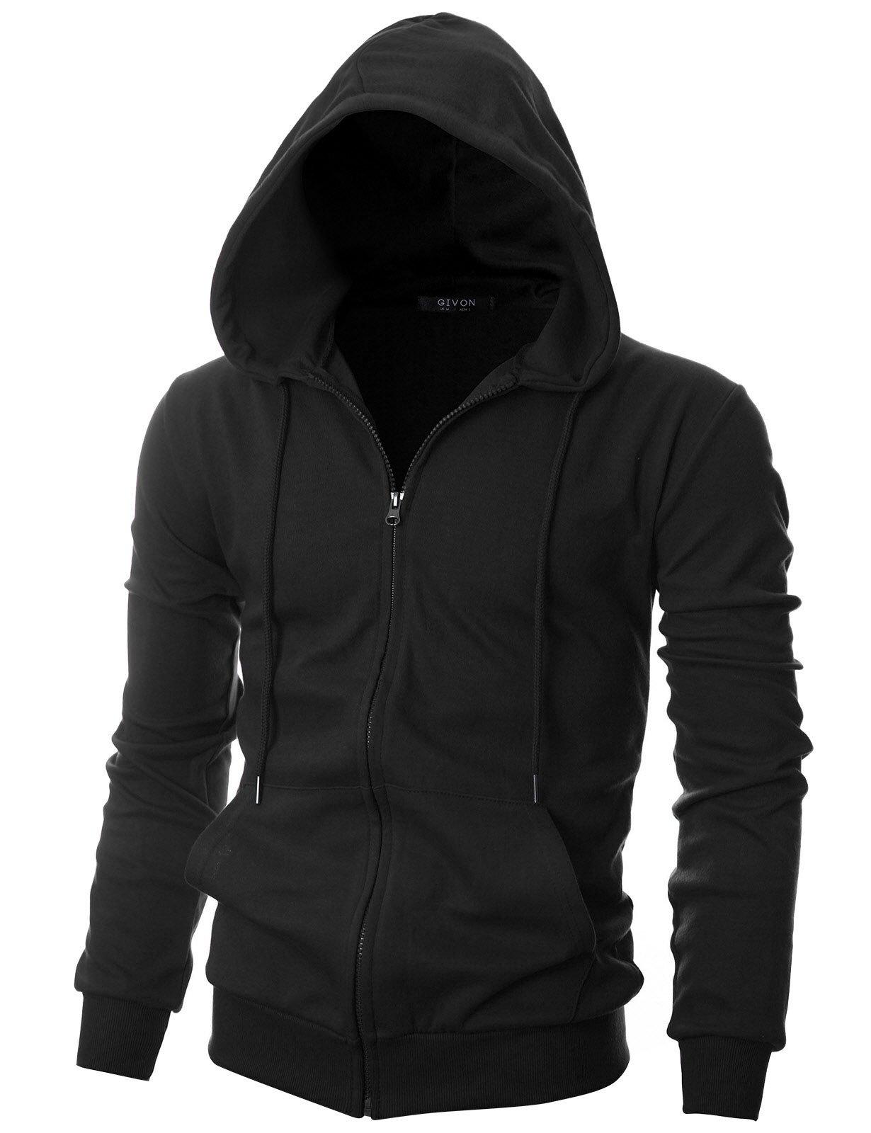 GIVON Mens Slim Fit Long Sleeve Lightweight One-Tone Zip-up Hoodie with Kanga Pocket/DCF036-BLACK-S