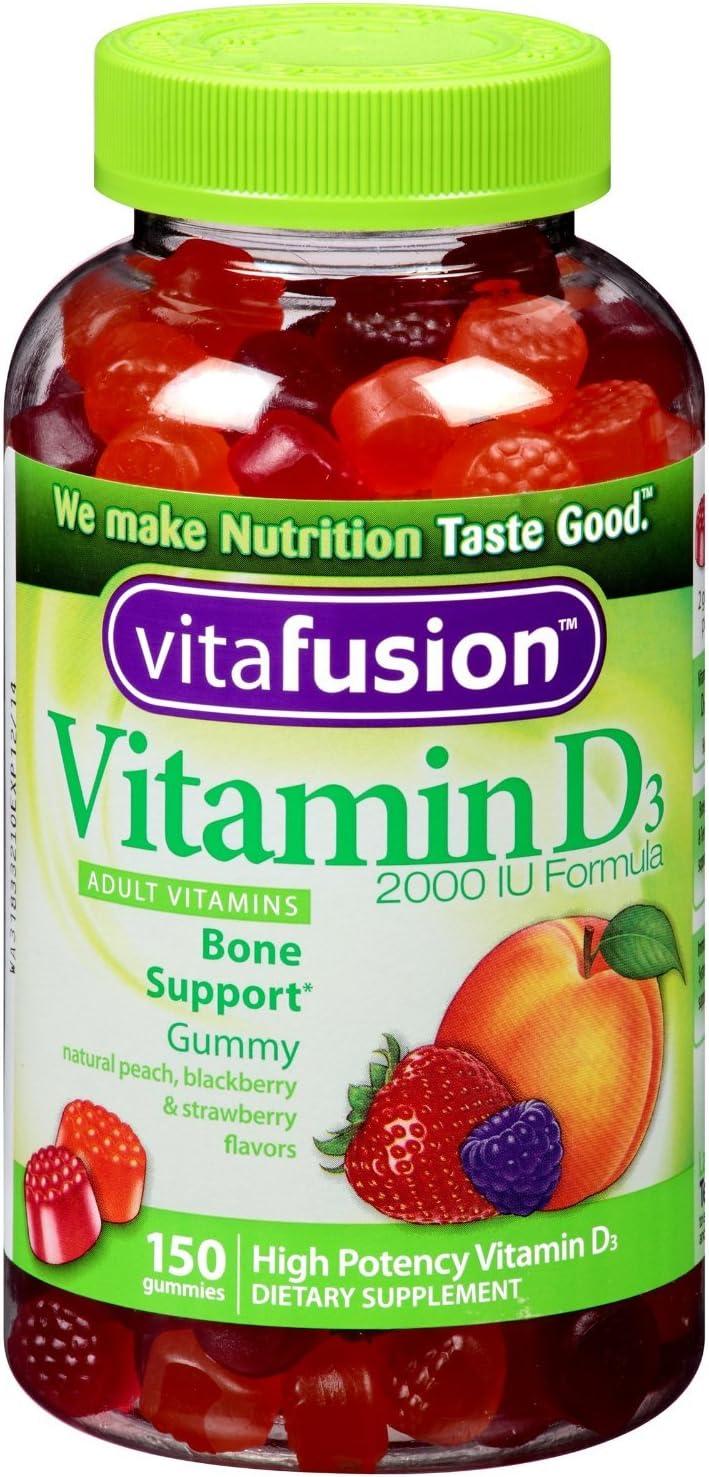 Amazon.com: Vitafusion Vitamin D3 Gummy Vitamins, Assorted Flavors, 150  (Pack of 2): Health & Personal Care