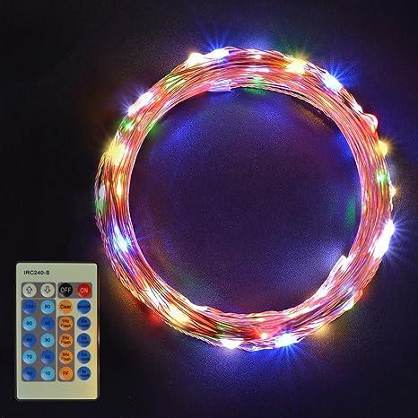 Sunix Cadena Luces LED 11m, alambre de cobre impermeable, 110 LED Multicolores, guirnalda de luces, Ideales para jardín, día festivo, Festival, ...