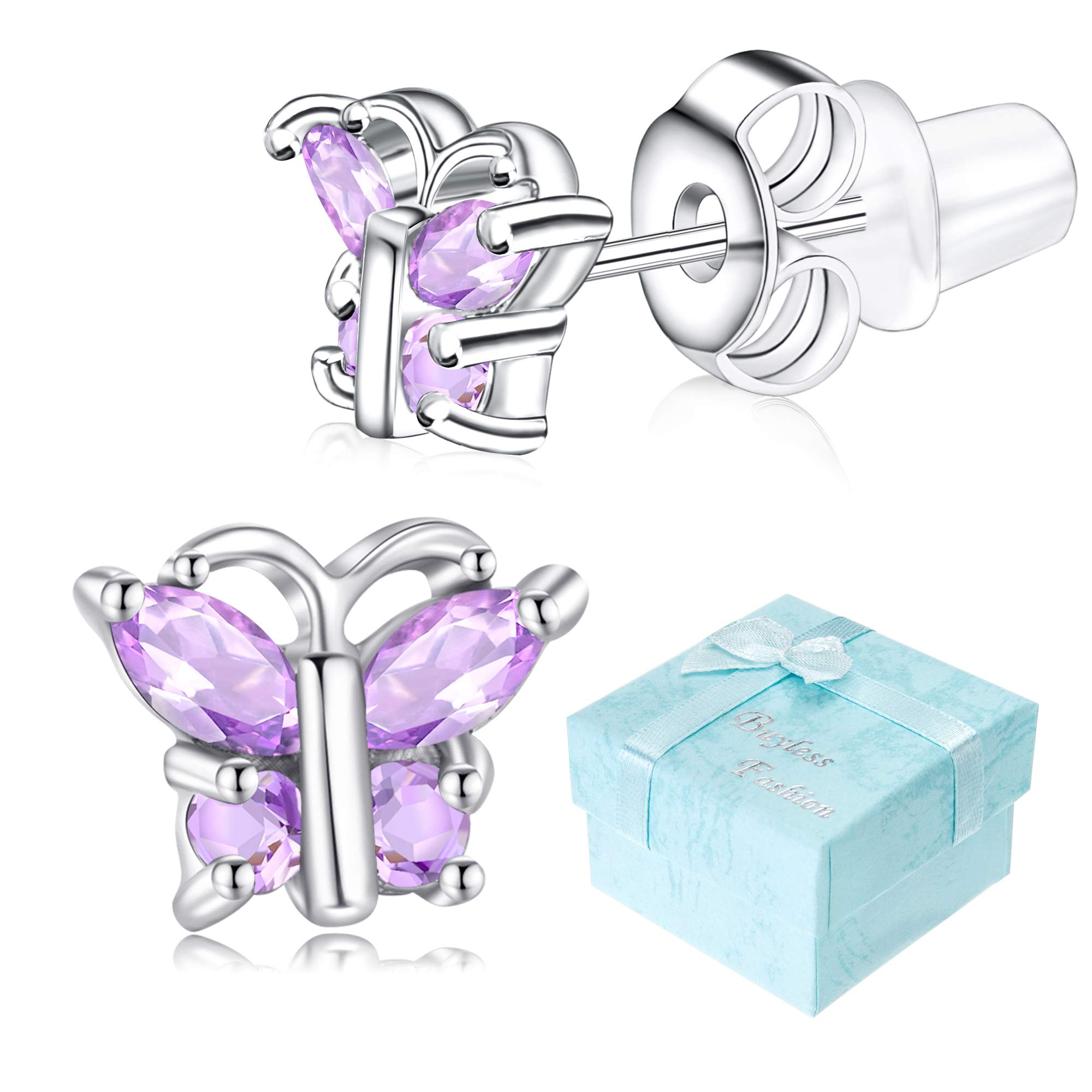 3505784d7 Buyless Fashion Girls Butterfly Birthstone Stud Earrings Cubic Zirconia  Jewelry product image