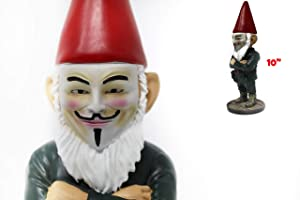 """Anonymous Hacker Mask Gnome - Guy Fawkes Funny Unique Anon Garden Gnomes Massacre - a Great Gardening Statue Figurine Decoration - Lawn Ornament Figure Sculpture for Indoor Outdoor Office Decor - 10"""""""
