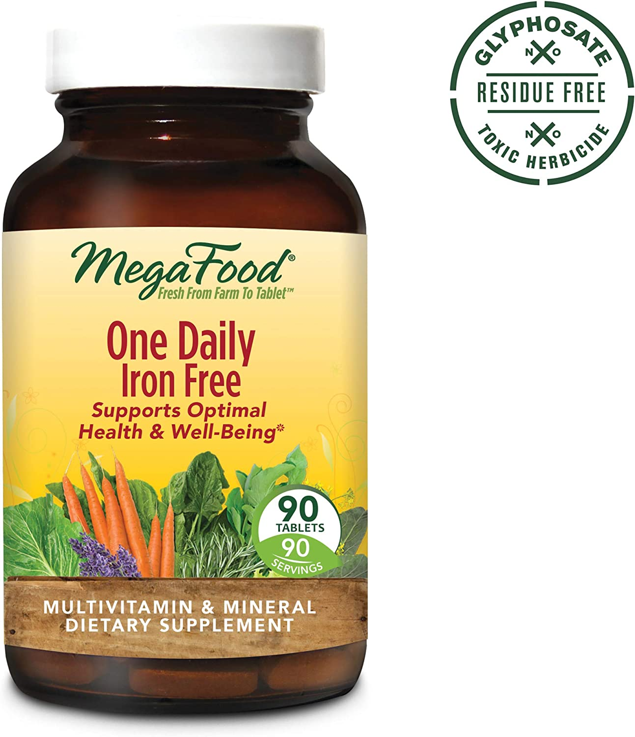 MegaFood, One Daily Iron Free, Supports Optimal Health and Wellbeing, Multivitamin and Mineral Supplement, Gluten Free, Vegetarian, 90 Tablets 90 Servings FFP