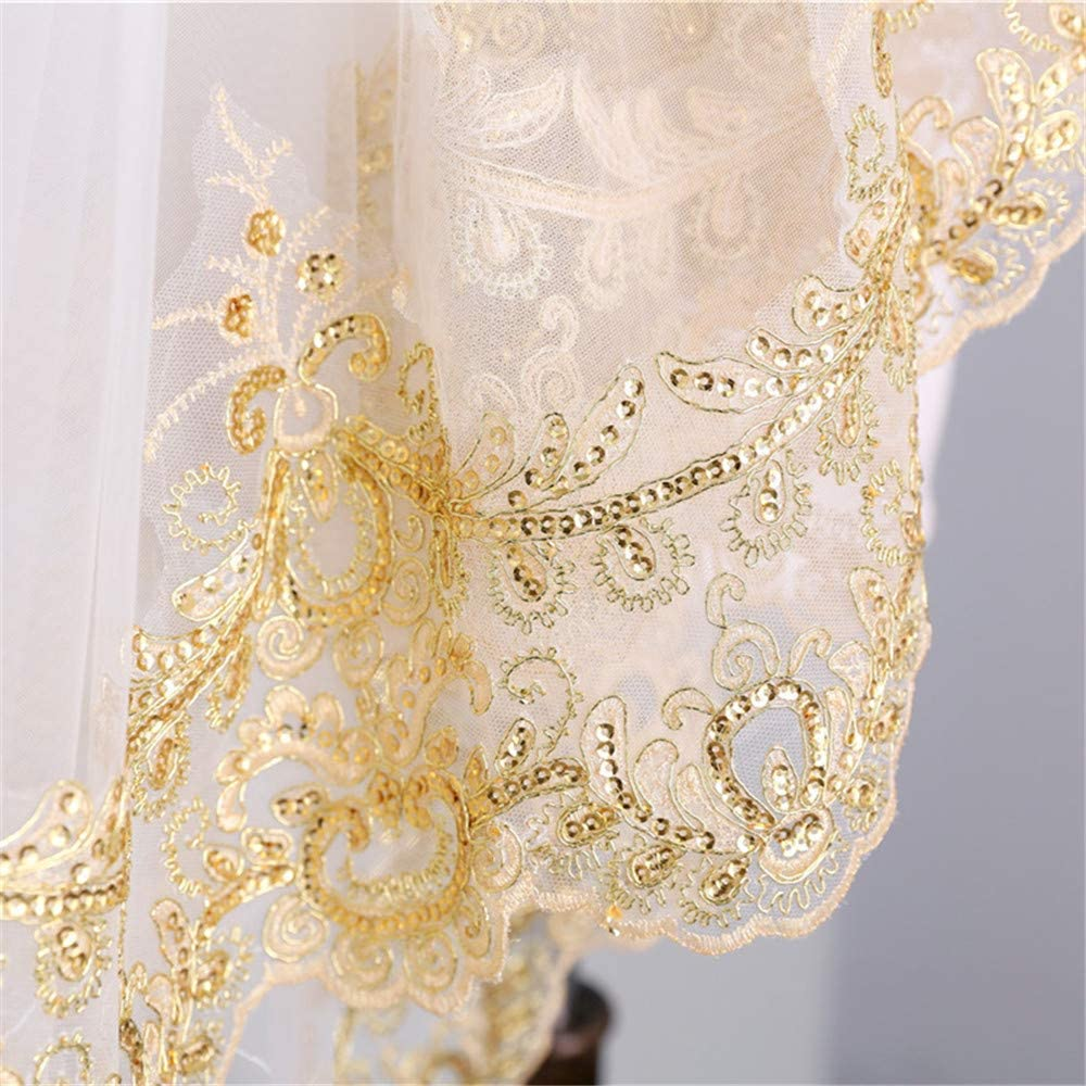 Mauwey Womens Cathedral 2-Tier 350 cm//137 inch Long Gold Sequined Lace Edge Wedding Veils Bridal Veils