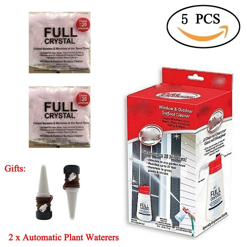 Full Crystal Window Cleaner All Purpose Outdoor Glass Cleaners As You See On TV with 2 Packs Powder and 2 Packs Automatic Plant Waterers