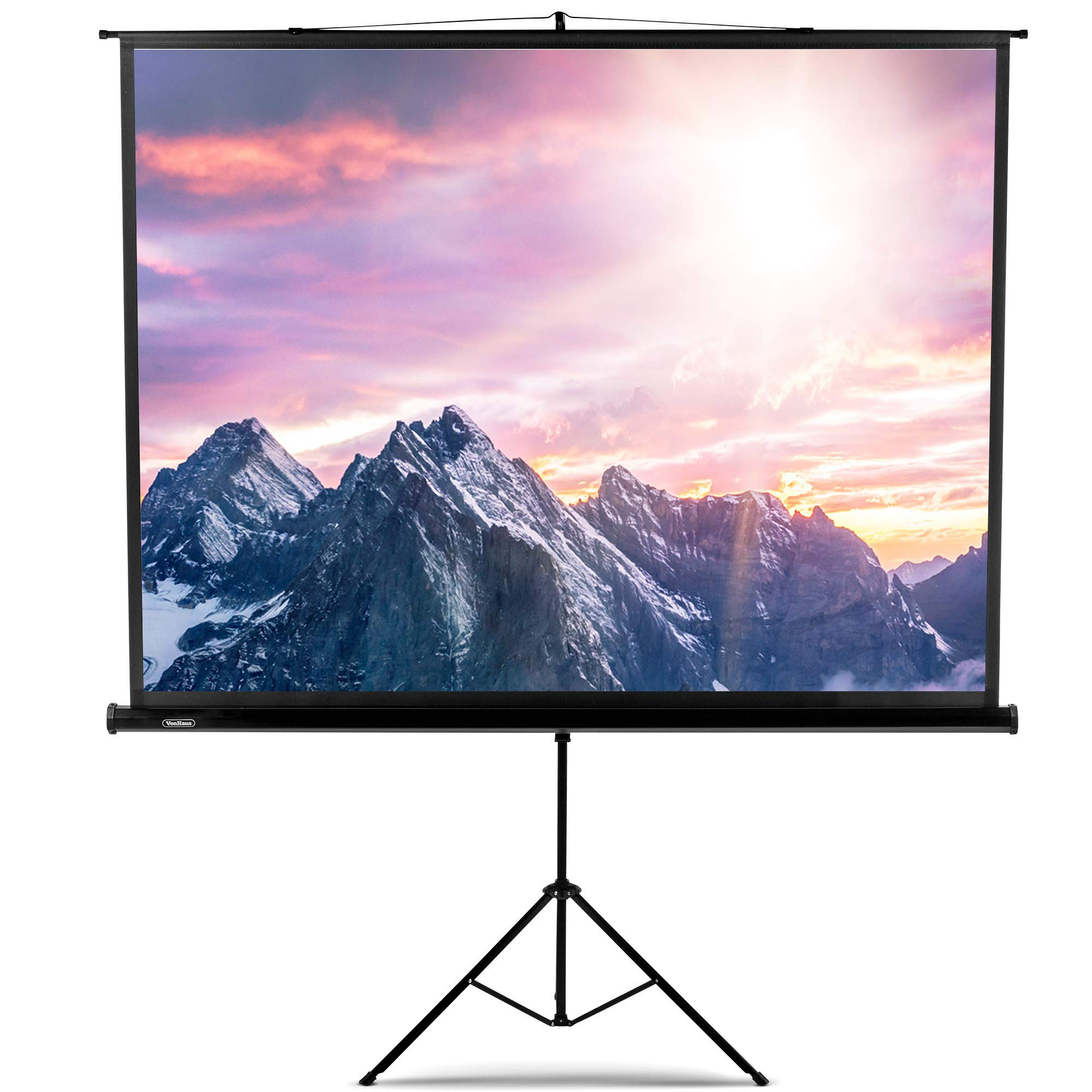 VonHaus 100'' Inch Portable Projector Screen with Stand, 4:3 Aspect Ratio, 1.1 Screen Gain Rating Free Standing Indoor and Outdoor Home Theater 4K HD