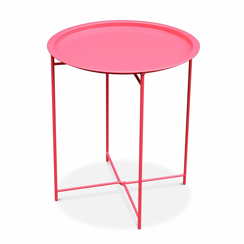 Vanage - Table dappoint - Table de Jardin ronde en Rotin synthétique ...