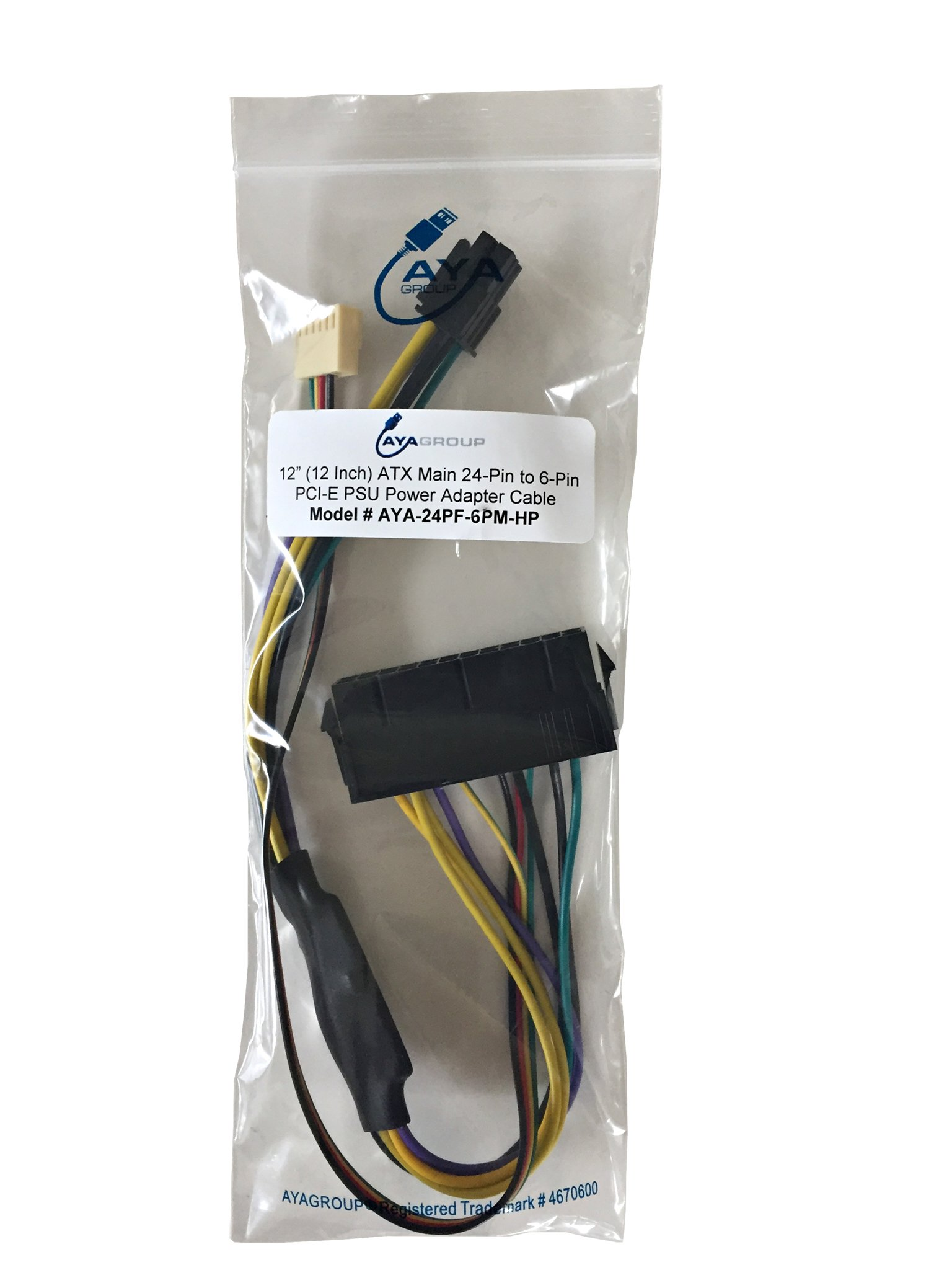 AYA 12'' (12 Inch) ATX Main 24-Pin to 6-Pin PCI-E PSU Power Adapter Cable 18AWG for HP Z220/Z230, Elite 8000, 8100, 8200, 8300, HP 800 G1, HP Compaq 6200 Pro MT by AYAGROUP (Image #5)