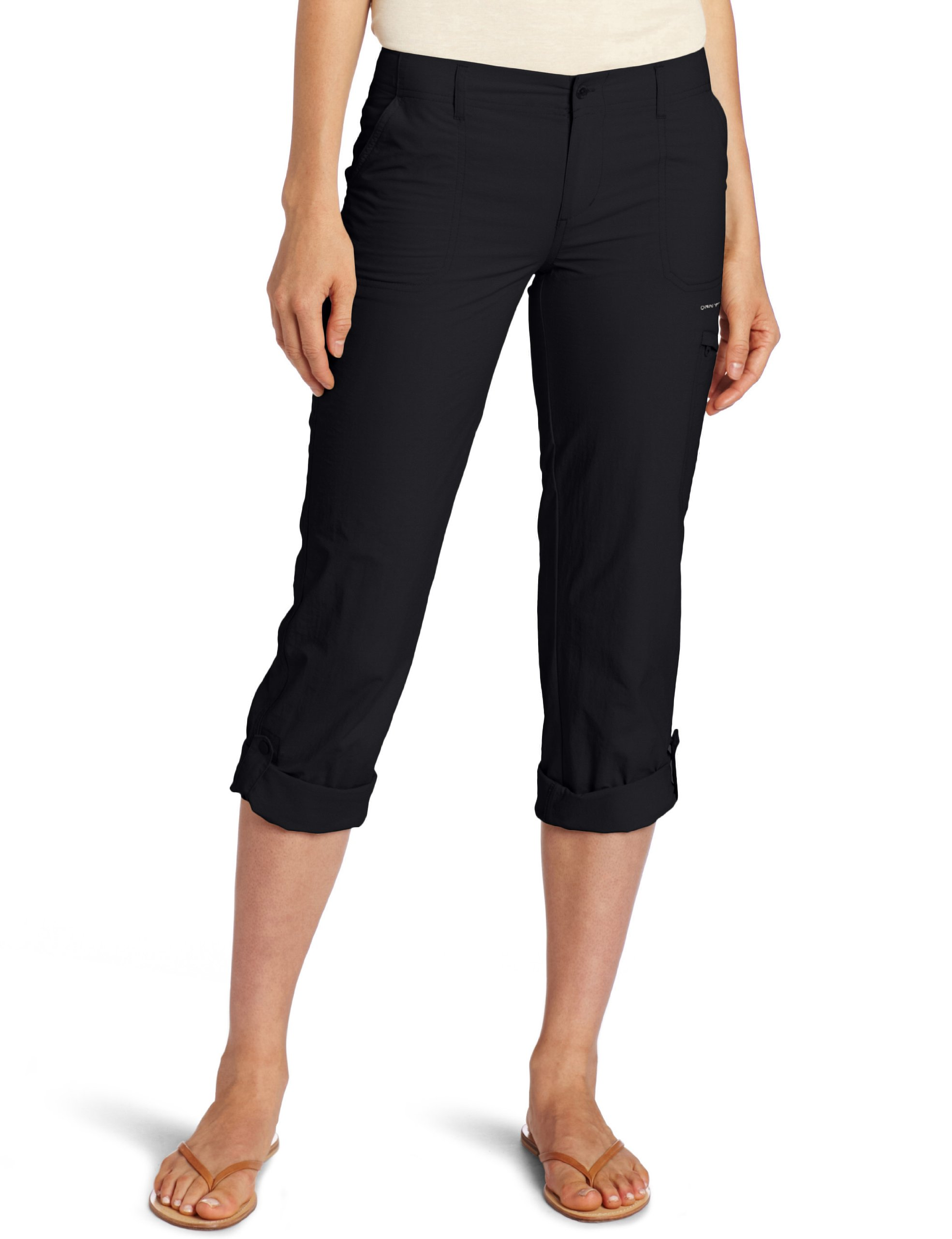 Columbia Women's Full Leg Roll-Up Aruba Pant, 6, Black by Columbia