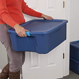 product image for STERILITE 14447406 12 Gallon/45 Liter Latch and Carry, True Blue Lid & Base with Blue Aquarium Latches, 6-Pack
