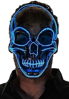 NEON NIGHTLIFE Men's Light Up Scary Death Skull Mask