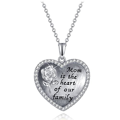 Amazon youfeng mom necklace gift for mother love heart crystal youfeng mom necklace gift for mother love heart crystal birthstone necklaces mothers day jewelry platinum plated aloadofball Image collections