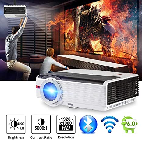 CAIWEI Bluetooth Projector Android, 4200 Lumens WiFi Wireless Home Theater Cinema Support Full HD 1080P Airply DLNA with HDMI USB VGA Port for iPhone ...