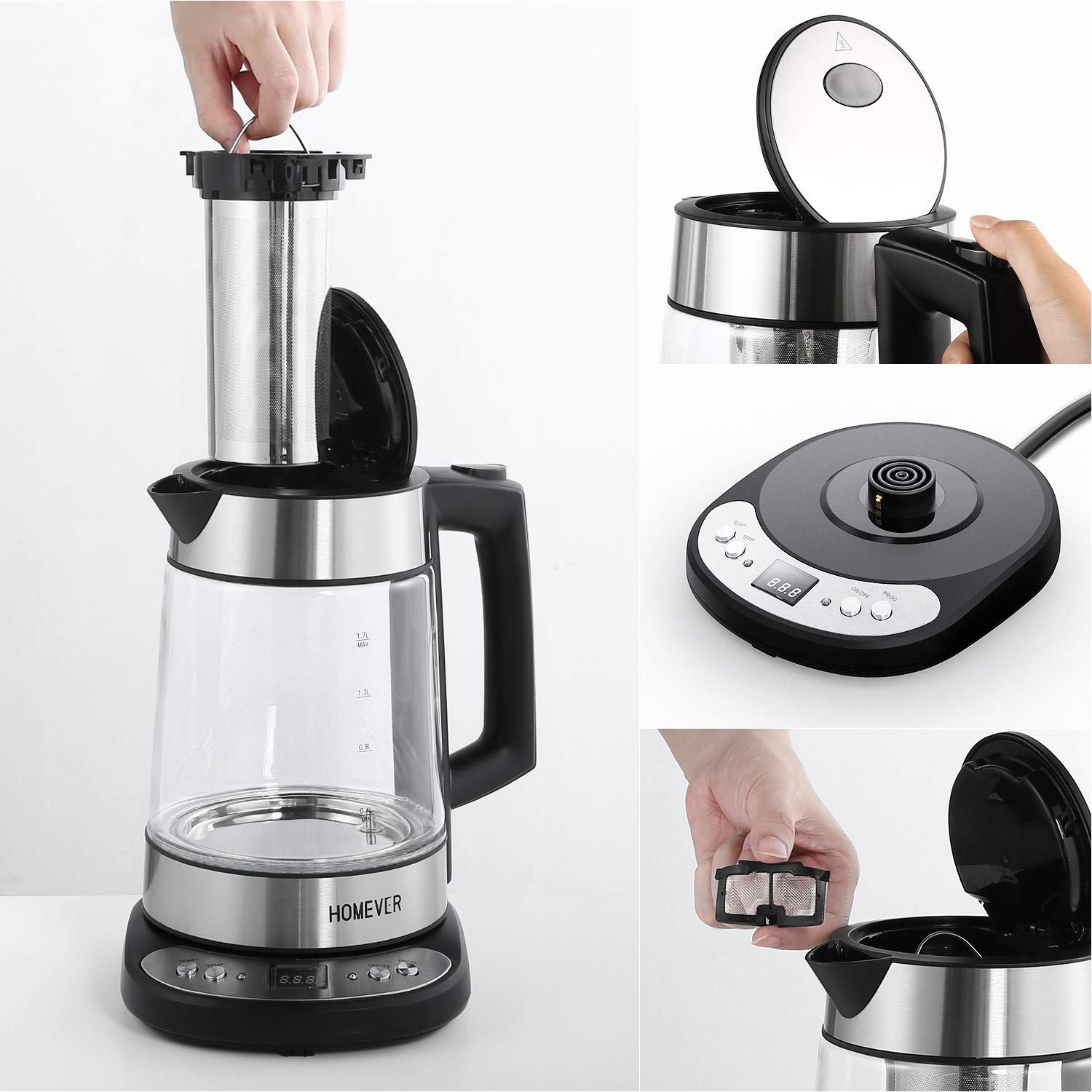 Electric Water Kettle Auto Shut-Off and Boil-Dry Protection Homever Kettle Thermostatic Kettle with Adjustable Temperature Electric Cordless Glass Kettle with Strainer 1.7L 2200W Tea Kettle