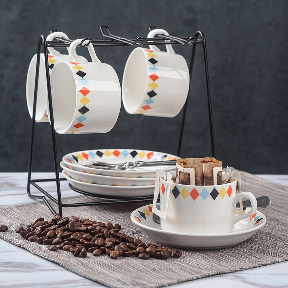 PLLP European-Style Ceramic Coffee Cup Set Creative and Simple Household Coffee Cup 6-Piece Set,D