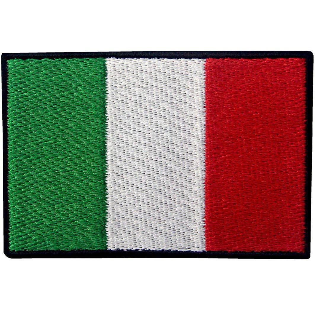 Bandiera Italiana Italiano Emblema Nazionale Termoadesiva Cucibile Ricamata Toppa EmbTao