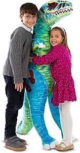 Melissa & Doug T-Rex Jumbo Plush Dinosaur (Lifelike Stuffed Animal, Over 4 Feet Tall), Great Gift for Girls and Boys - Best for 3, 4, 5, and 6 Year Olds