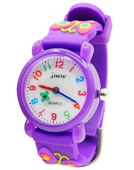 JNEW - Reloj de Cuarzo para Niñas con Dibujo de Mariposa Butterfly Watchband Reloj para Niñas Analógico Deportivo Cute Resistente al Agua - Morado: ...