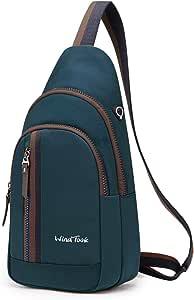 Wind Took bolsa bandolera mochila pequeña bolso pecho hombre y mujer bolso hombro bolso desportiva mochila de ocio multipropósito 19 x 9.5 x 35cm azul