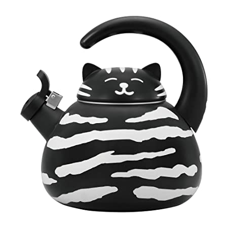 Supreme Housewares Gourmet Art Black Cat Enamel-on-Steel Whistling Kettle