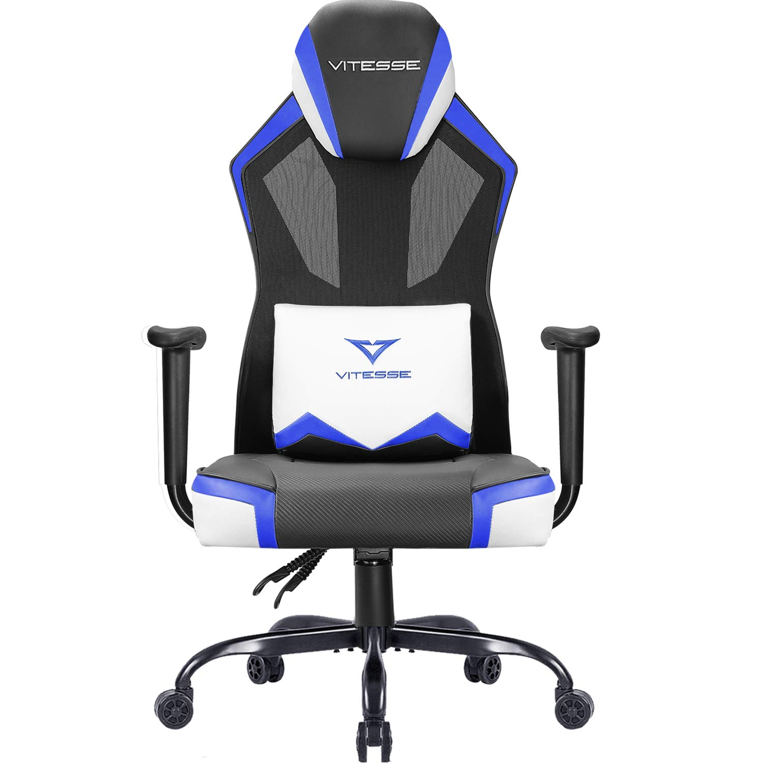 Vitesse Gaming Chair Breathable Mesh High Back Racing Style Office Chair Ergonomic Swivel Computer Desk Chair with Lumbar Support Blue