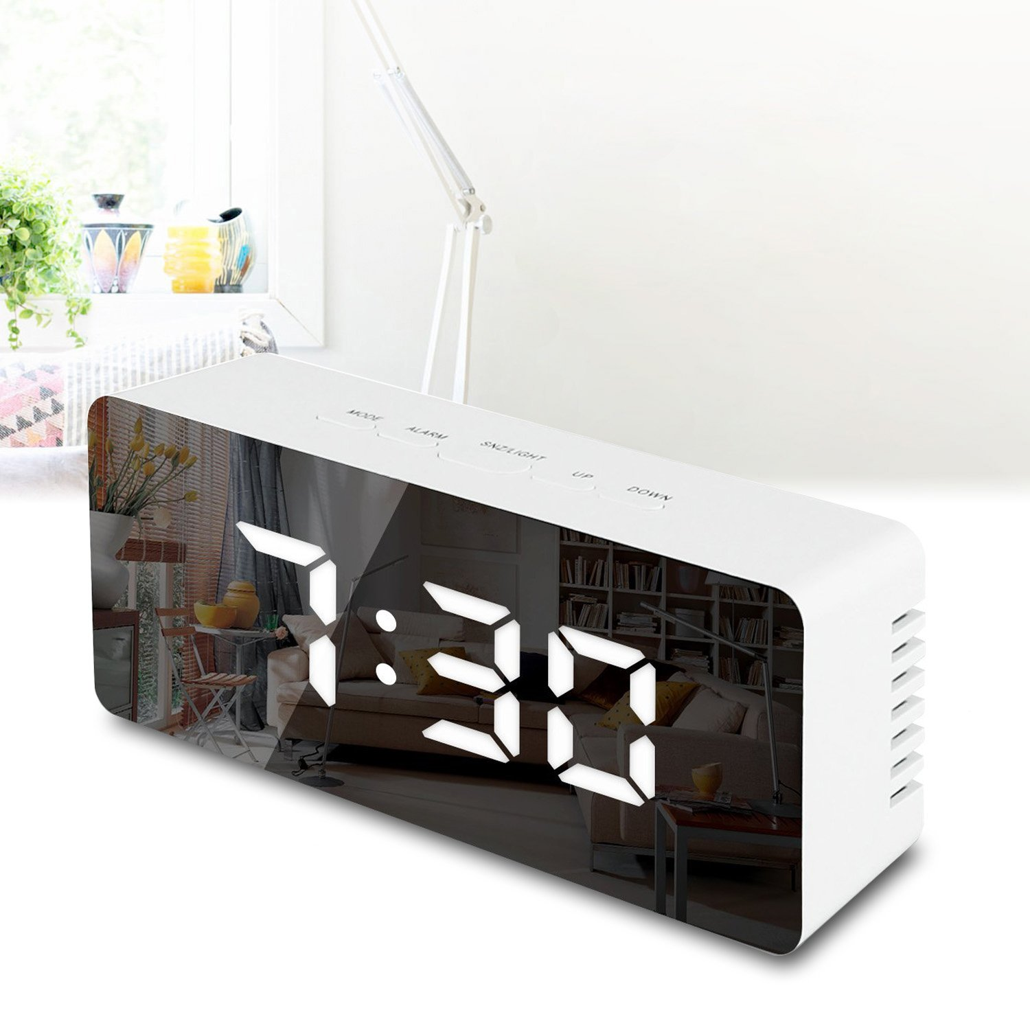 GO HAND Digital LED Alarm Clock, Mirror Alarm Clock Large LED Display, with Sleep Time Dimming Function, Suitable for Bedroom, Office, Travel - Battery Powered and USB Powered (White Digital)