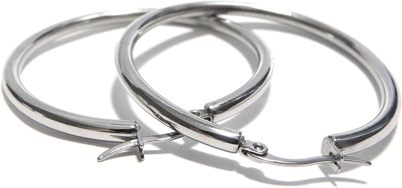 1.75 Inch Sterling Silver Hoop Earrings Hinged Closure Real Silver ! Big 45mm