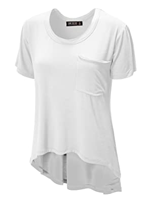 CTC WT938 Womens Oversized Raw-Edge Pocket Tee L WHITE