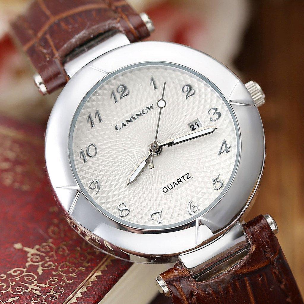 JSDDE Uhren,Elegant Damen Armbanduhr Kalenderuhr Klassisch Echtleder Band Damenuhr Analog Qaurzuhr Business Uhr,Braun