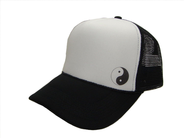 Yin and Yang Symbol Side Logo Mesh Trucker Cap (One Size, Black/White)